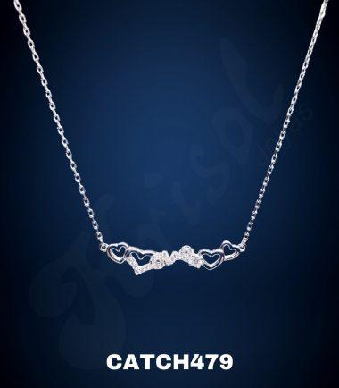 SEMICOLLAR DOBLE CORAZON MINI C/CIRCON (CATCH479)