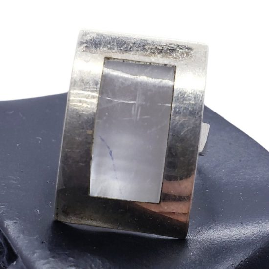 ANILLO RECTANGULAR BOMBE Y BISEL CHICO (ANCL09)
